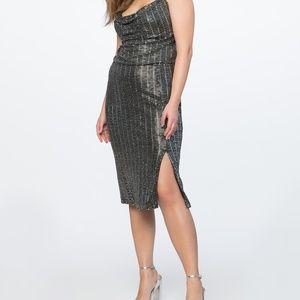 Eloquii cowl neck metallic dress